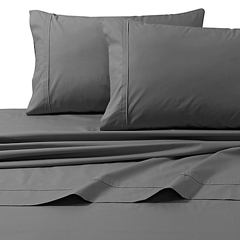 buy 300 thread count premium cotton percale queen sheet set in grey from bed bath beyond. Black Bedroom Furniture Sets. Home Design Ideas
