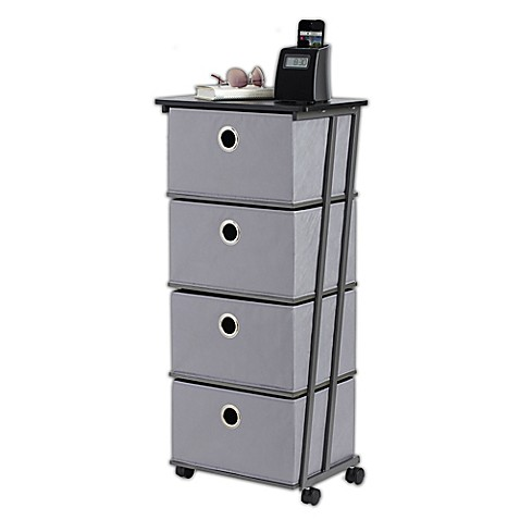 Homz Wheeled Storage Cart With 4 Drawers Made Of Sy Plastic In Smoke Gray