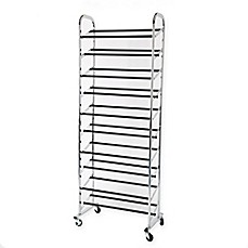 image of 30-Pair Rolling Adjustable Shoe Rack in Chrome