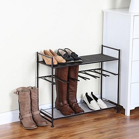 stackable boot and shoe rack in bronze bed bath beyond. Black Bedroom Furniture Sets. Home Design Ideas