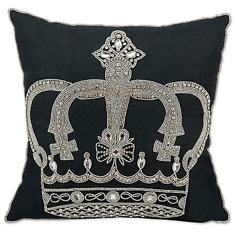 Black Beaded Throw Pillow : Mina Victory Beaded Crown Throw Pillow in Black - Bed Bath & Beyond