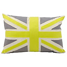 image of Mina Victory Union Jack Rectangle Throw Pillow in Green