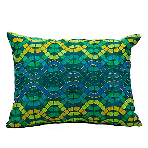 Buy Mina Victory Fantasia Interlock Tiles Oblong Throw Pillow in Blue/Green from Bed Bath & Beyond