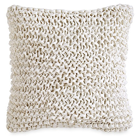 Dkny City Pleat Ribbon Square Throw Pillow In White Bed