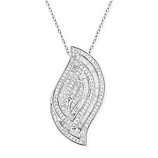 image of Sterling Silver 1.2 cttw Diamond Baguette and Round 18-Inch Chain Shell Pendant Necklace