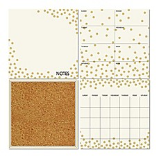 image of WallPops!® Dry-Erase Calendar/Weekly Planner/Notes Board/Cork Board Set in White/Gold Confetti
