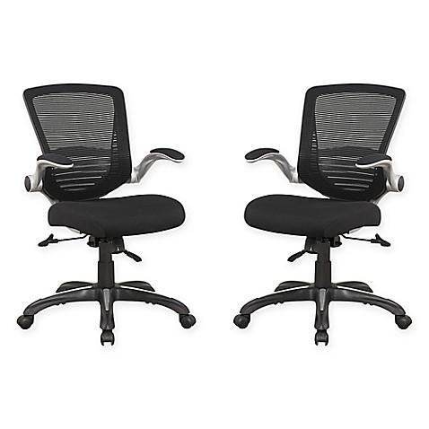 manhattan comfort ergonomic walden mesh office chairs in black set