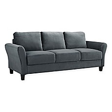 image of Lifestyle Solutions Viola Microfiber Sofa in Dark Grey