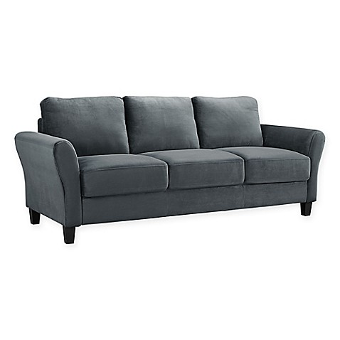 Lifestyle Solutions Viola Microfiber Sofa In Dark Grey