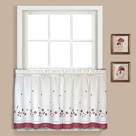 Buy Gingham 24 Inch Window Curtain Tier Pair In Red From