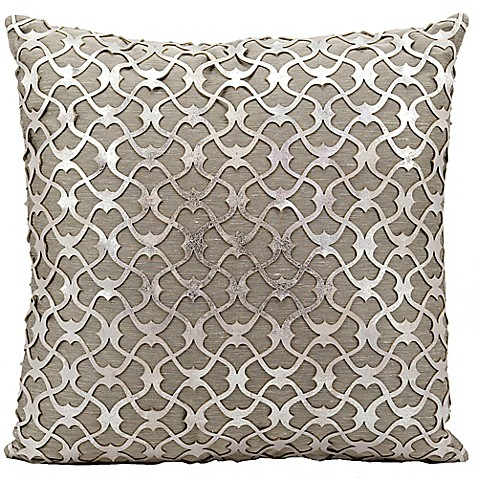 Silver Decorative Bed Pillows : Buy Mina Victory Couture Romantic Laser Cut 20-Inch Square Throw Pillow in Silver from Bed Bath ...