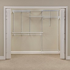 closet systems. closetmaid® shelftrack® 5-foot to 8-foot wire closet organizer kit in systems g