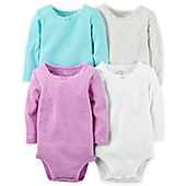 image of carter's® 4-Pack Long Sleeve Pointelle Bodysuits in Multicolor