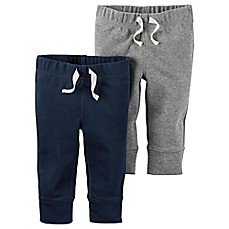 image of carter's® 2-Pack Babysoft Ribbed Cotton Cuffed Faux-Drawstring Pant in Navy/Grey