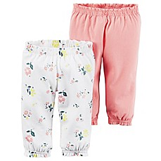 image of carter's® 2-Pack Babysoft Ribbed Cotton Cuffed Faux-Drawstring Floral/Pink