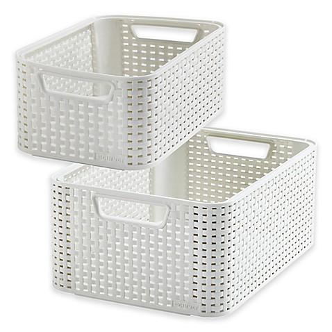 Curver rattan look storage basket in beige bed bath beyond for Beige bathroom bin