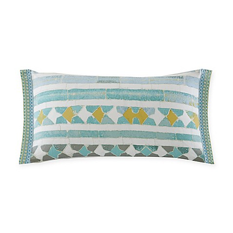 Echo Design Lagos Geometric Oblong Throw Pillow in Aqua/White - Bed Bath & Beyond