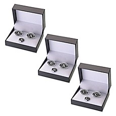 image of Lillian Rose™ Black Band Monogram Cufflinks and Tie Tack Set