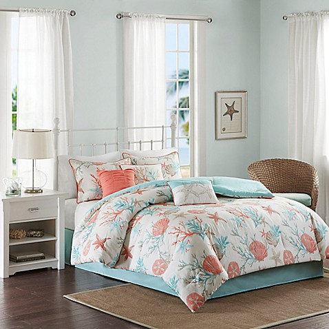 Madison Park Pebble Beach Comforter Set In Coral Bed