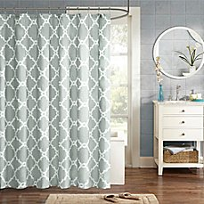 image of madison park essentials merritt printed shower curtain