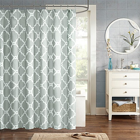 image of madison park essentials merritt printed shower curtain