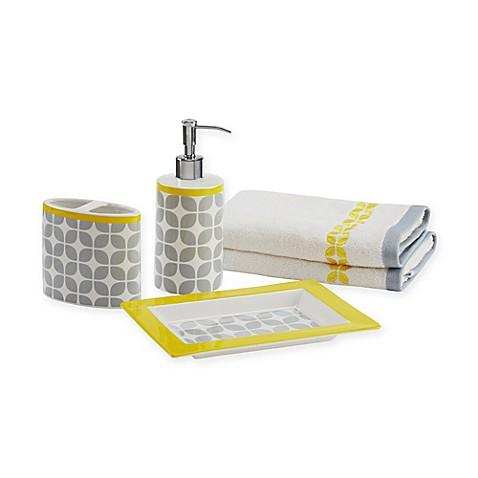 Buy intelligent design lita 5 piece bath accessory set in for Yellow grey bathroom accessories