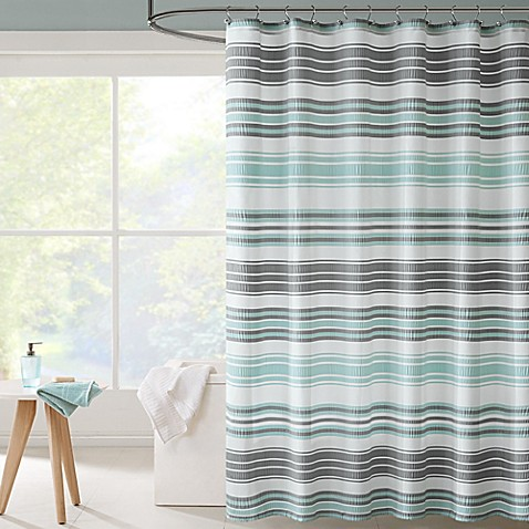 Intelligent design ana puckering stripe shower curtain in - Intelligent shower ...