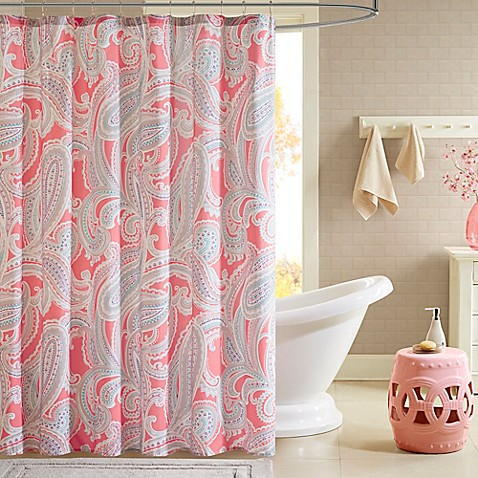 Intelligent design paola printed shower curtain in pink - Intelligent shower ...