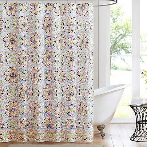 Buy Intelligent Design Zoe Printed Shower Curtain In Coral Blue From Bed Bath Beyond