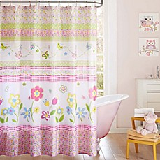 Image Of Mi Zone Kids Spring Bloom Printed Shower Curtain In White/Pink