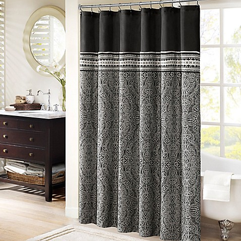 Madison Park Barton 72 Inch X Jacquard Shower Curtain In Black