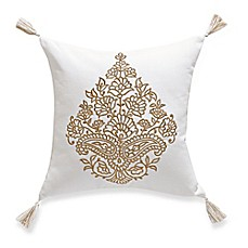 image of Tangier Embroidered Square Throw Pillow in Gold