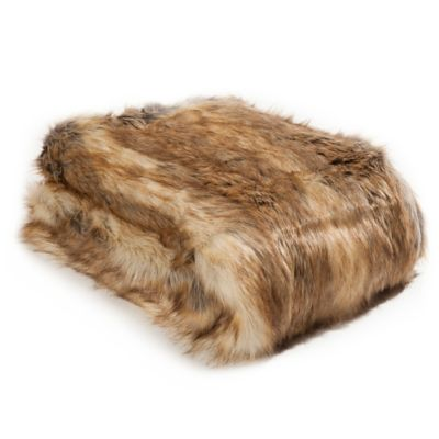 image of Wild Mannered Luxury Long Hair Faux Fur Throw Blanket in Amber Fox