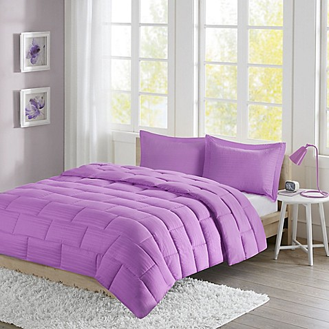 Buy intelligent design avery seersucker down alternative twin comforter mini set in purple from for Home design alternative comforter