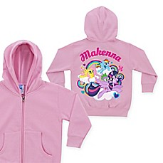 image of My Little Pony Born To Soar Size Zip-Up Hoodie in Pink (Personalized)