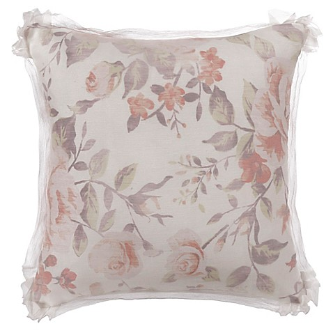 Bed Bath And Beyond Orange Throw Pillows : Bed Inc. Antoinette Floral Square Throw Pillow in Orange - Bed Bath & Beyond