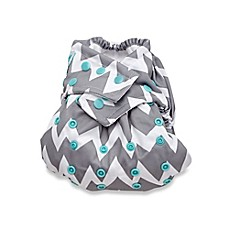 image of Bumkins One Size Snap-In-One Cloth Diaper in Grey Chevron