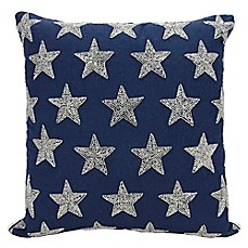 image of mina victory luminescence beaded stars square throw pillow in navysilver - Blue Decorative Pillows
