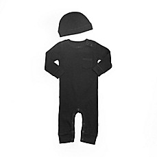 image of Planet Cotton® 2-Piece Thermal Coverall and Hat Set in Black