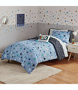 Set de edredón matrimonial de poliéster Marmalade™ Ashton reversible color azul