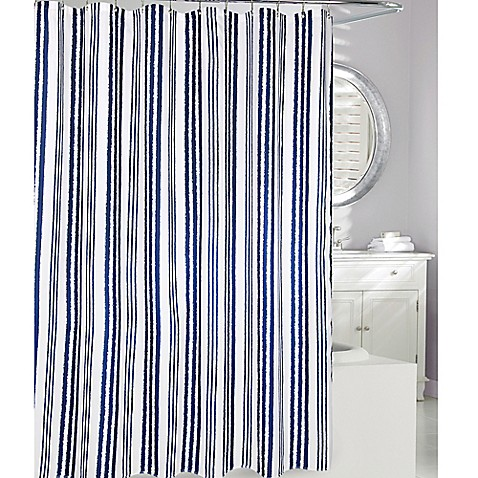 Moda At Home Weekend Stripe Fabric Shower Curtain