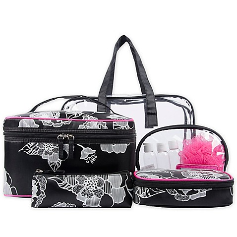 Blockbuster 10 Piece Cosmetic Bag Set In Black And White