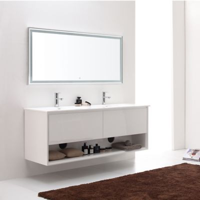 image of Avanity Sonoma 63-Inch Wall-Mount Double Vanity Base in White
