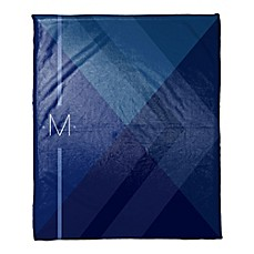 image of Layered Gradient Personalized Throw Blanket in Navy/Blue
