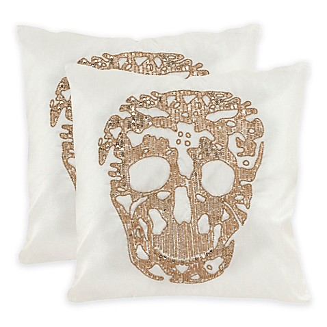 Safavieh Punk Skull 18-Inch Square Throw Pillows in Gold (Set of 2) - Bed Bath & Beyond