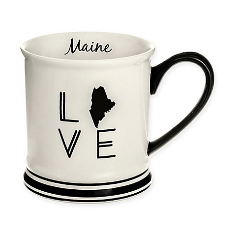 Formations Maine State Love Mug in Black and White