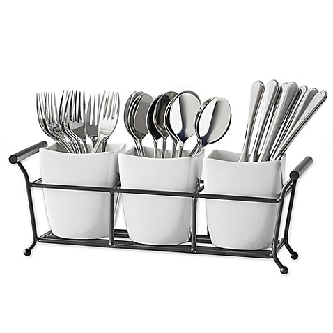 B. Smith 4-Piece Flatware Caddy in White - Bed Bath & Beyond
