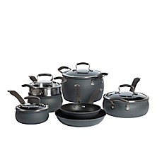 image of Epicurious Hard Anodized Nonstick 11-Piece Cookware Set and Open Stock