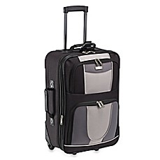image of Geoffrey Beene 21-Inch Expandable Carry-On Suitcase in Black/Grey