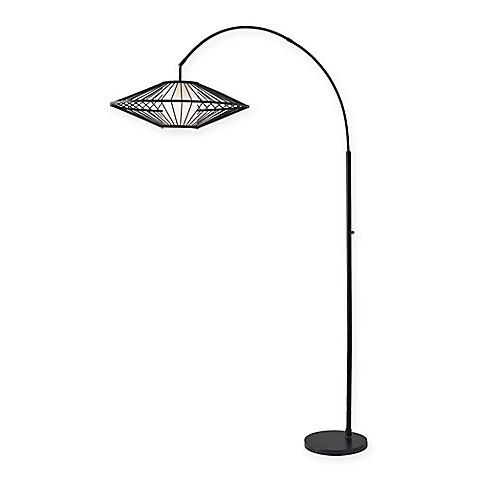 adesso calypso 1 light arc floor lamp in black bed bath beyond. Black Bedroom Furniture Sets. Home Design Ideas